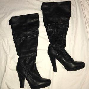 Jessica Simpson tall leather heeled boots black